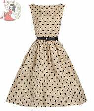 Lindy Bop 50's Audrey Vintage Polka Dot Dress Mocha Cream