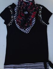 NEW Justice girls 8 10 14 20 shirt tunic black silver sequence red plaid scarf
