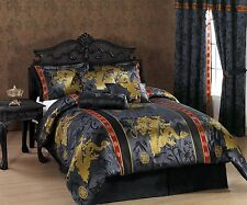 7c Asian Oriental Dragon Comforter Set Black Red Full Queen King Bed Bedding