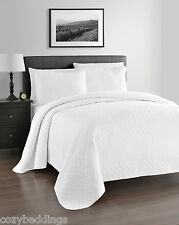 ZARIA 3pc Coverlet Set - WHITE Color quilted Bed Spread Full/Queen, King/Calking