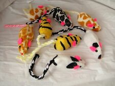 ANIMAL PRINT MICE for KITTY - Lots 3/5/10 Rattle Cat Toys Leopard Giraffe Cow