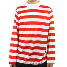 ADULT RED AND WHITE LONG SLEEVE STRIPED TOP FANCY DRESS COSTUME BOOK CHARACTER