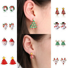 Fashion Women Rhinestone Pierced Christmas Tree Deer Earrings Ear Stud Gift