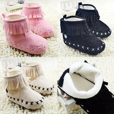 Kids Baby Girs Tassels Boots Soft Bottom Shoes Toddler Snow Boots 0-18M 3CLR ACE