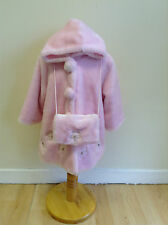 Baby Girls Hooded Pink Fur Coat Set with Muff