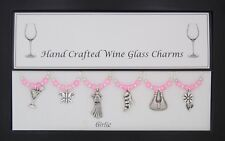 Girlie Set of Wine Glass Charms Birthday Present Wedding Hen Party Christmas