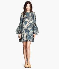 BNWT H&M CONSCIOUS EXCLUSIVE BLUE PATTERNED FRILLED TUNIC DRESS UK 12 EU 38 US 8