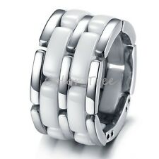 Unique 5 in 1 White Ceramic & Titanium Mens Width Wedding Band Ring NEW FREE S&H
