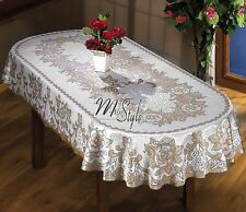 Oval Tablecloth Heavy Lace Natural / Golden Beige Large Premium Quality