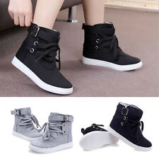 Women Girls high Top canvas sneakers buckle Strap creeper shoes Fashion Flats