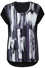 Yoursclothing Plus Size Womens Brush Stroke Panel Print Jersey Top