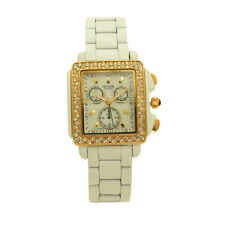 Rectangle Case Mother of Pearl Bright Crystals White Band Women's Geneva Watch