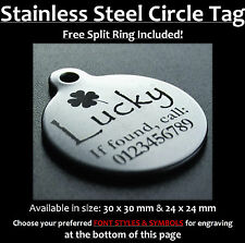 Stainless Steel Circle Pet Tag With FREE Personalised Engraving for Dog Cat Pets