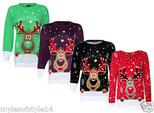 Plus Size Womens Funky Rudolph Reindeer Knitted Christmas Xmas Jumpers Tops