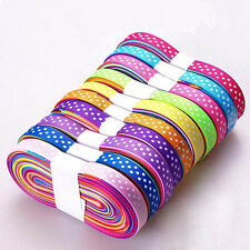 "5/25yards Reel Polka Dot Grosgrain Ribbon-10mm (3/8"") width-Various Colours moly"