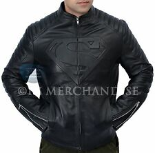 Superman Smallville Man of Steel Shield Genuine Black Leather Jacket - ALL SIZES