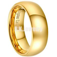 8MM Gold Plated Polished Mens Tungsten Wedding Band Ring Size 8 9 10 11 12 13