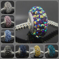 European Charm With CZ 925 sterling silver murano Thread Core Beads