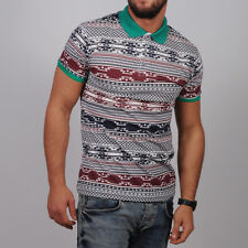 Ethnic Pattern Trend T-Shirt Polo Neck Mono Design Cotton Top Slim Fit Tee 025