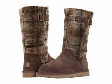 NIB UGG Katerina Plaid Boots Size 7 8 Chocolate Twin-face sheepskin upper $395