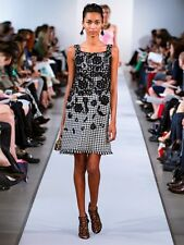 $1895 NEW Oscar de la Renta Black White RUNWAY Lace Embroidered Tweed DRESS 6