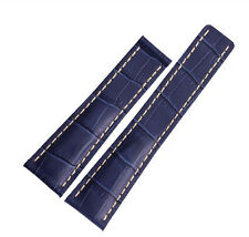 High Quality Blue Genuine Leather Watch Band Strap For (FIT) Breitling