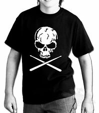 DRUM,DRUMMER,SKULL DRUMSTICKS,T SHIRT KIDS,ALL SIZES