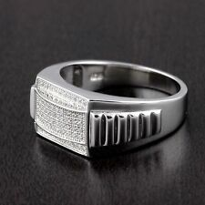 Mens 925 Sterling Silver Micro Pave Setting Cubic Zirconia Ring