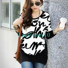 New Women Letters Crewneck Long Sleeve Casual Knitted Blouse Loose Tops L XL