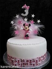 MINNIE MOUSE BIRTHDAY CAKE TOPPER WITH MATCHING RIBBON & BOW ANY AGE