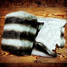 FUR ACCENTS Faux Fur Throw Blanket / Bedspread / Gray Chinchilla  with Minky Fur
