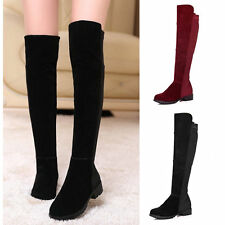 Fashion Women Long Boots Patchwork Knee Length Low Heel Over Shoes New