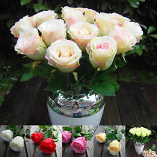 Craft Silk Flowers Plants Wedding Bouquets Rose Gift Party Decor Rosa Champagne