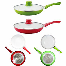 Amazing New Ceramic Coated Red/Green 24cm Frying Pan with or without Glass Lid