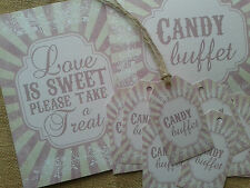 Vintage candy buffet love is sweet take a treat signs and tags pink or brown
