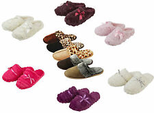 Ladies / Girls Mules Slippers Faux Suede Animal Print or Plain Fur Lined Sz 3-8