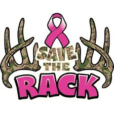 Save the Rack Camo Antlers Breast Cancer Awareness T-Shirt S-6XL Ribbon Tee