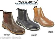 Mens Chelsea Boots Ankle High Office Dealer Brogue Outdoor Walking Shoes Size