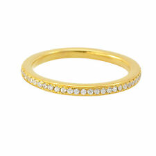 Sterling Silver Cubic Zirconia Ring Stackable Yellow Gold Plated - 2mm Wide