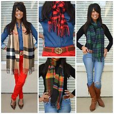 PLAID CHECK TARTAN BUFFALO BLACK WATCH SCOTTISH CASHMERE FEEL LUXE FRINGE SCARF