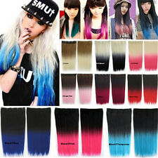New Womens Ombre Synthetic Long Straight 5Clips Two Tone Gradient Hair Extension