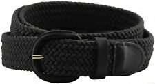 New Men's or Women's Woven Elastic Stretch Belt with Leather Covered Buckle