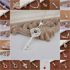 Fashion Jewelry 925Sterling Silver Stamp Pendant Neclace For Women Holiday Gift