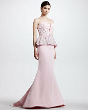 $12,790  New Oscar de la Renta Pale Pink Silver Embroidered Gown DRESS 6 Wedding