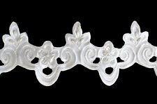 3 inches White Satin Bridal Beaded Sequins Embroidery Lace Trim by Yard
