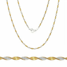 1.7mm Sterling Silver 14k Gold Twist Rope Italy Chain Necklace All Sizes 2 Tone