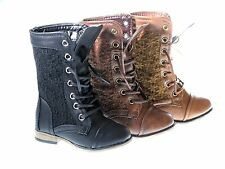 Girl's Leather PU Military Boots Lace- Up Boots Baby Toddler Sz 4-8