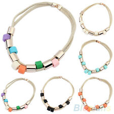 FANTASTIC WOMENS WOVEN ROPE CHAIN ROUND BEADS CHARM NECKLACE XMAS PARTY JEWELRY