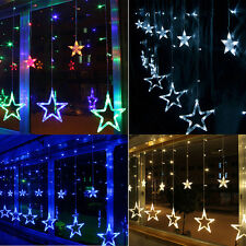 Christmas Wedding Party Xmas Curtain Window Star Fairy String Lights + Converter