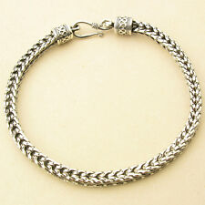 "5MM 925 STERLING SILVER EP BALI WHEAT CHAIN OXIDIZED BRACELET 7"" to 9 1/4"""